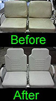 before and after upholstery of waiting chair seats
